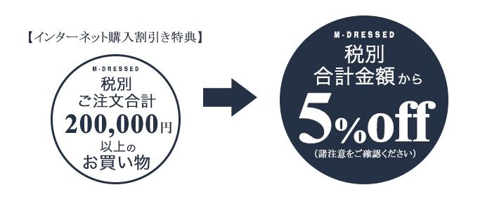 税別20万円以上で5%オフ
